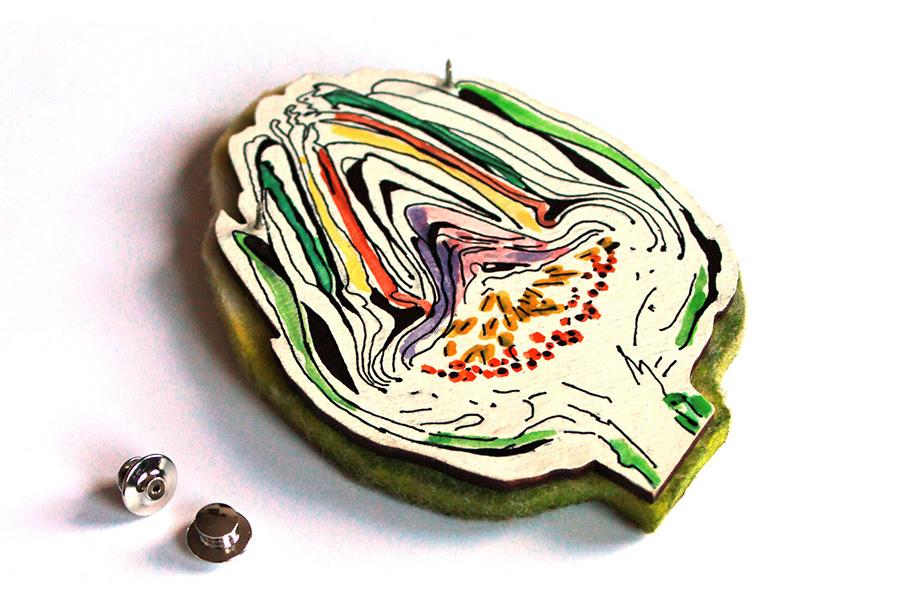 artichoke brooch by pop-a-porter