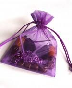 collier reversible perles jaune & maron chaine violette in bag