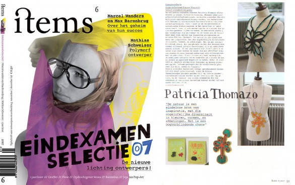 items magazine, the final exam selection of 2007 number, interview of Patricia Thomazo's jewellery work