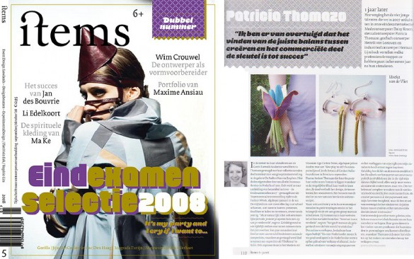 items magazine, follow up interview of Patricia Thomazo's jewellery work
