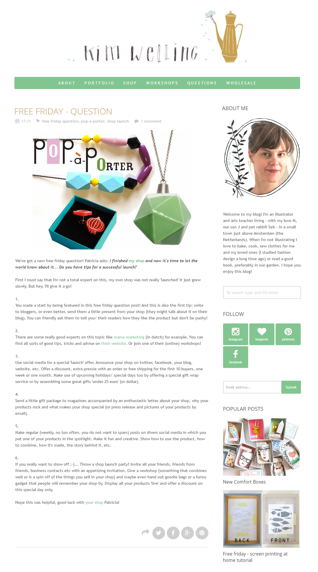 pop-a-porter's question ansered on Kim Welling's blog