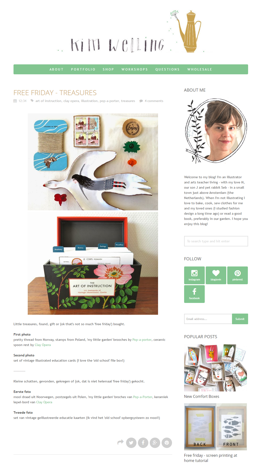 pop-a-porter's 'My little garden' acrylic brooches on Kim Welling blog