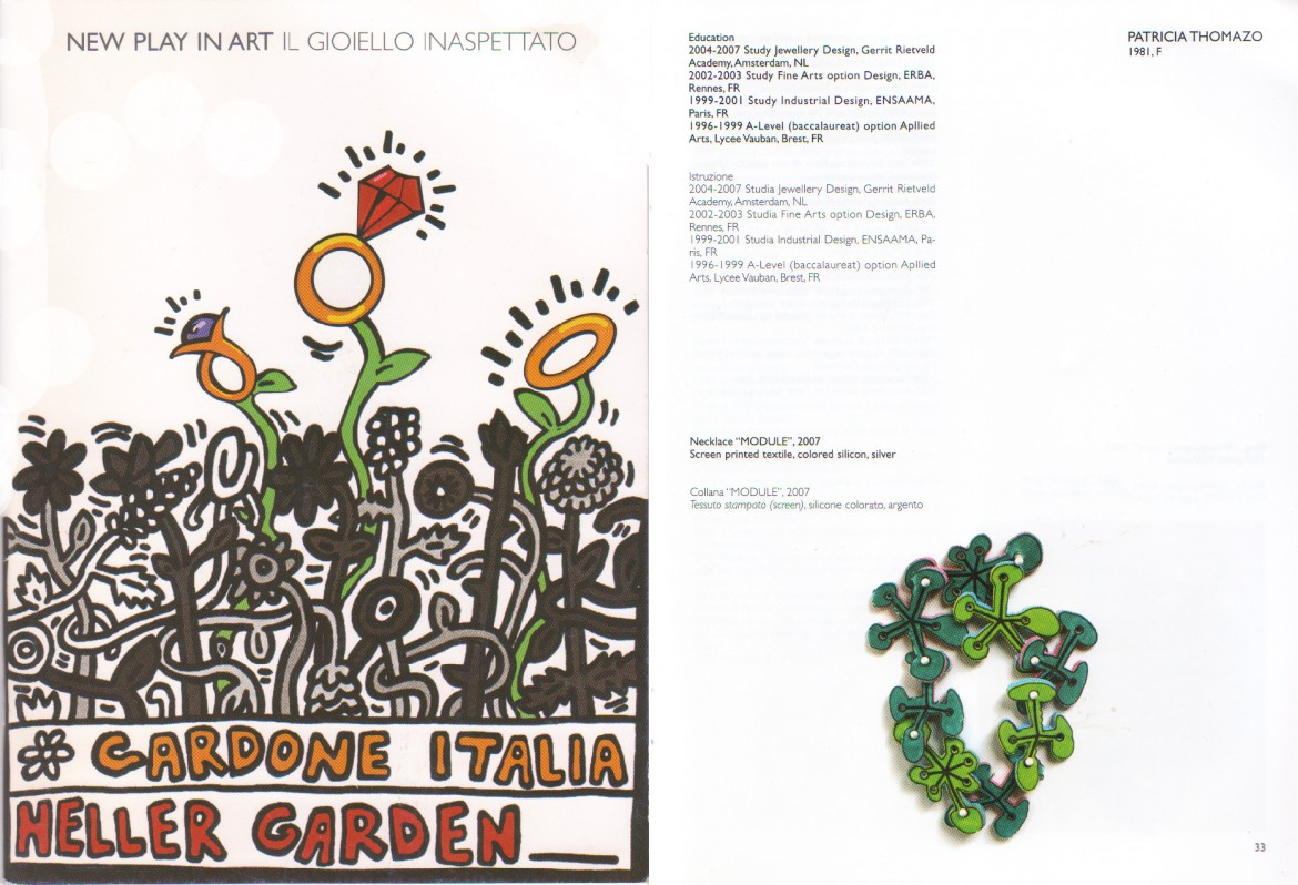 catalog extract of the exhibition 'new play of art' at the Heller botanical garden in Italy in 2008