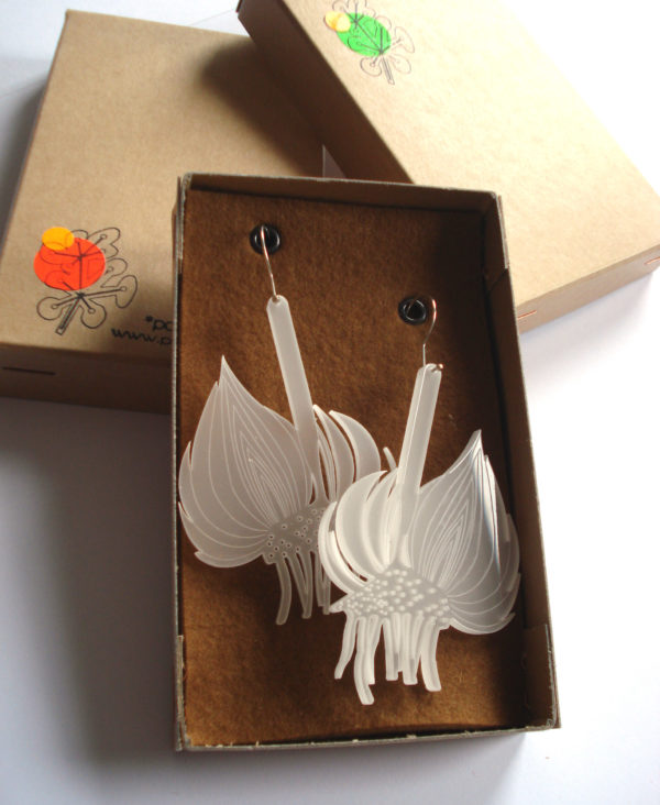 translucent white bulb earrings