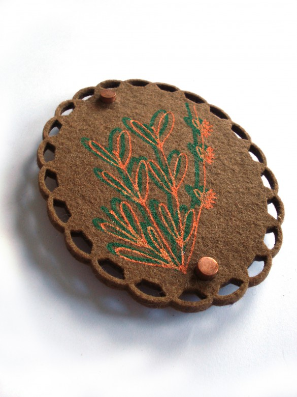 screenprinted laser cutted felt brooch by pop-a-porter