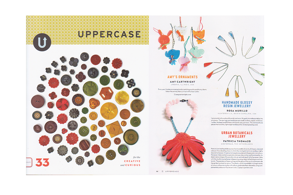 the statement necklace cornflower by pop-a-porter is featured in uppercase magazine 33-2017