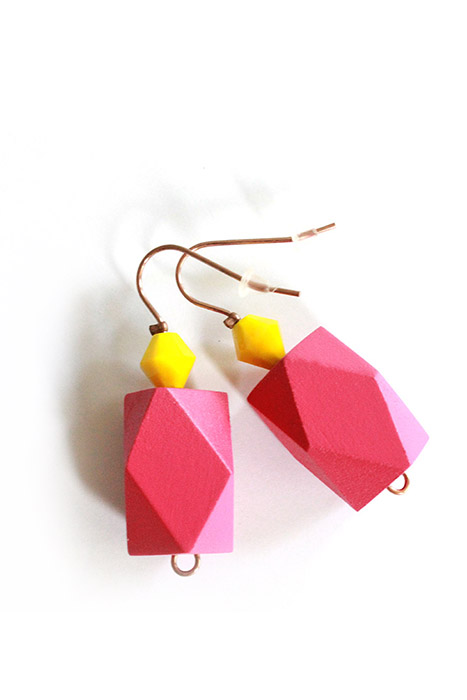 Hot pink color block earrings by pop-a-porter