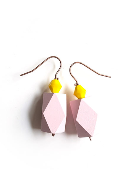 pink color block earrings