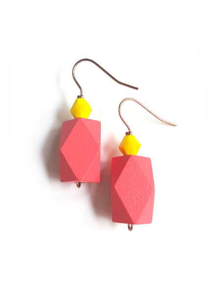 colorblock earrings coral
