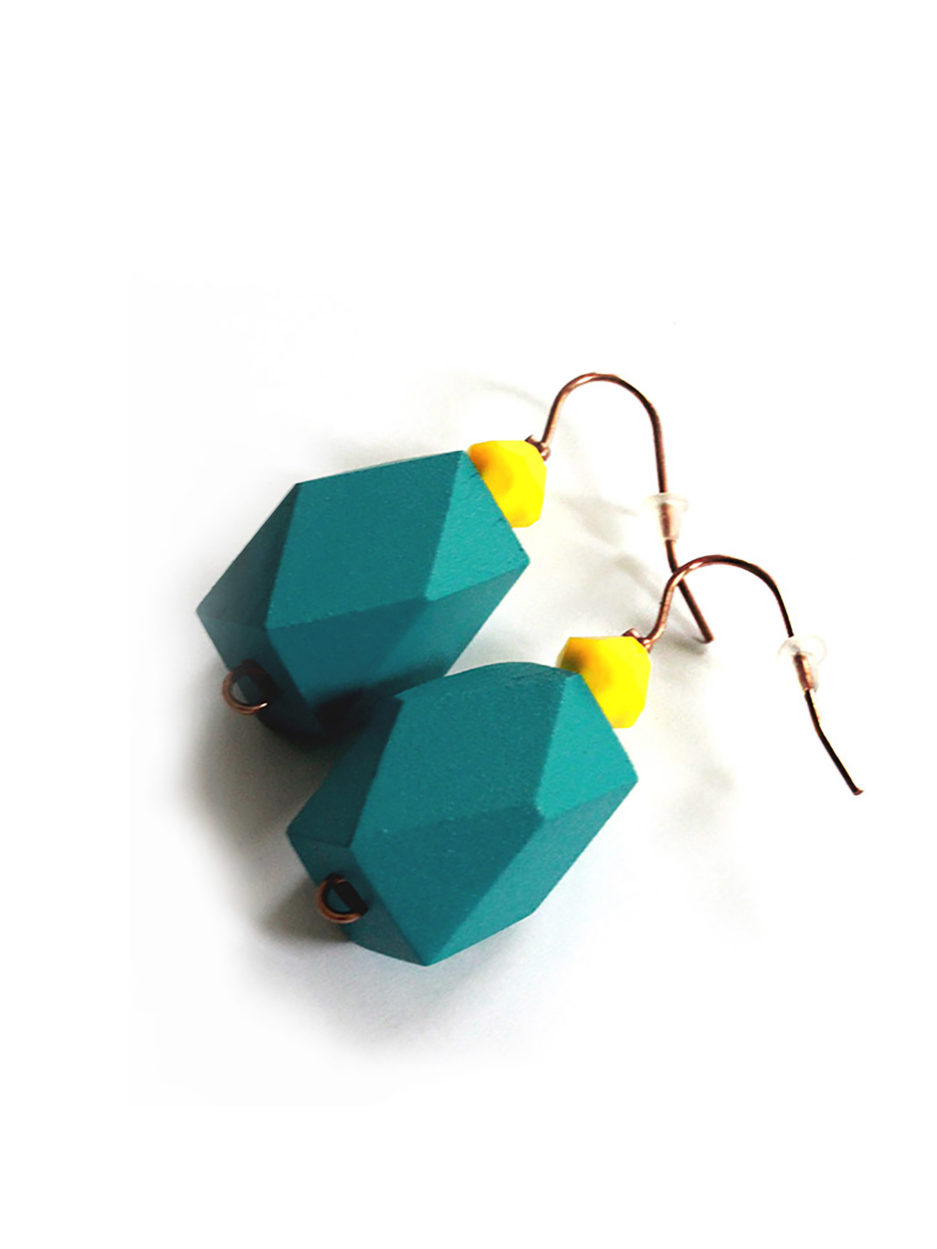 colorblock earrings petrol
