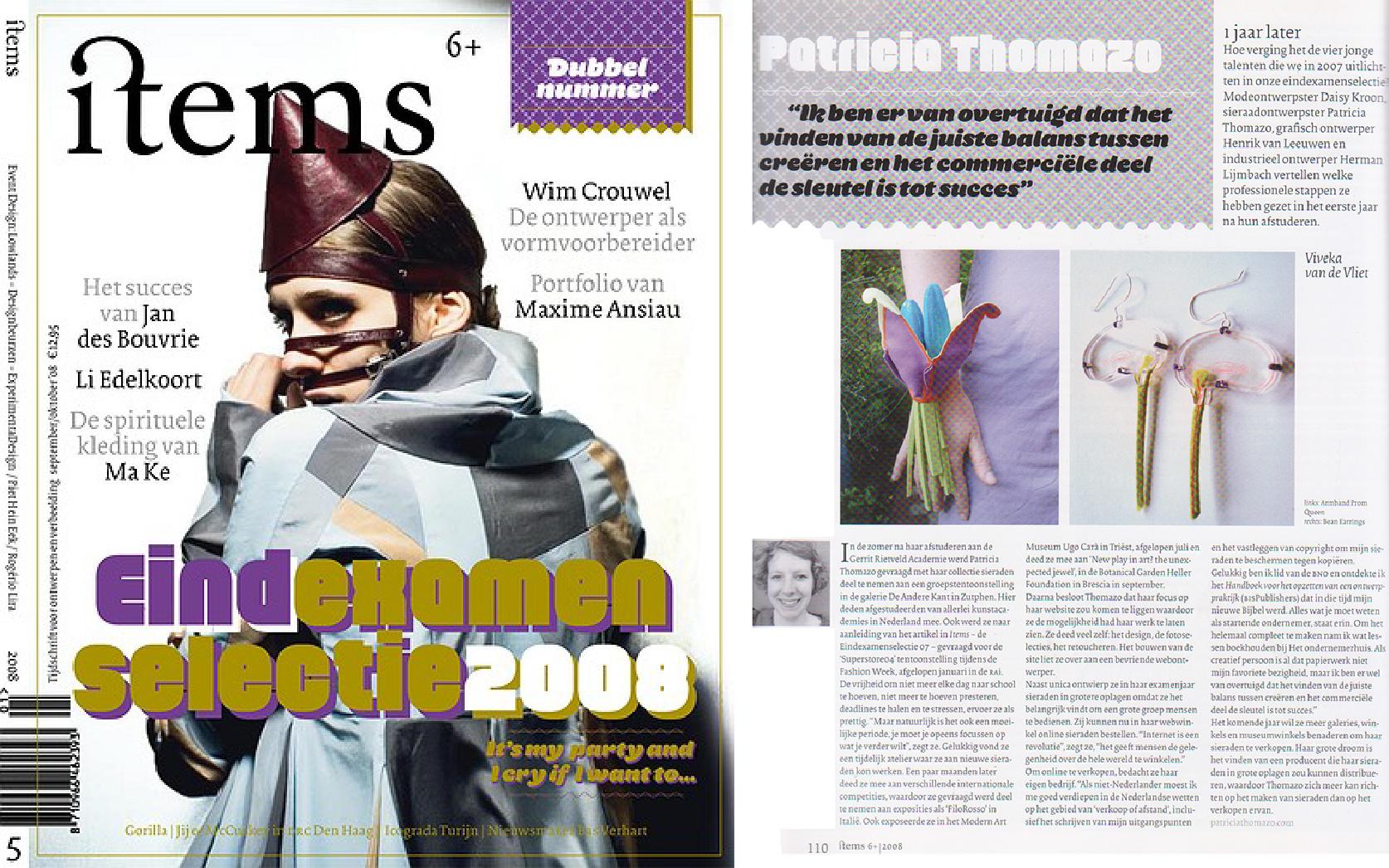 items magazine, follow up interview of Patricia Thomazo's jewellery work