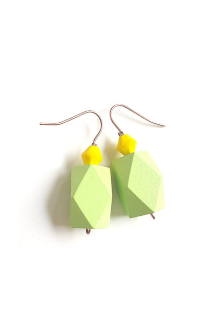 pastel green color block earrings