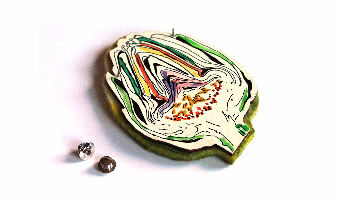 artichoke brooch -wp