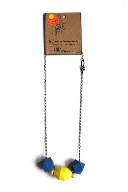 casual color block blue and yellow necklace