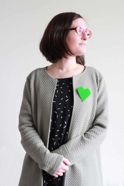 oversize heart brooch green