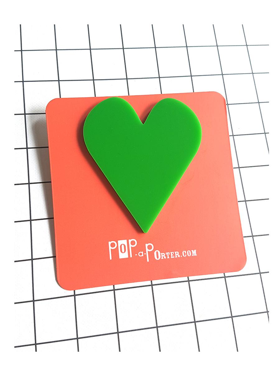 oversized heart brooch green by Pop-a-porter