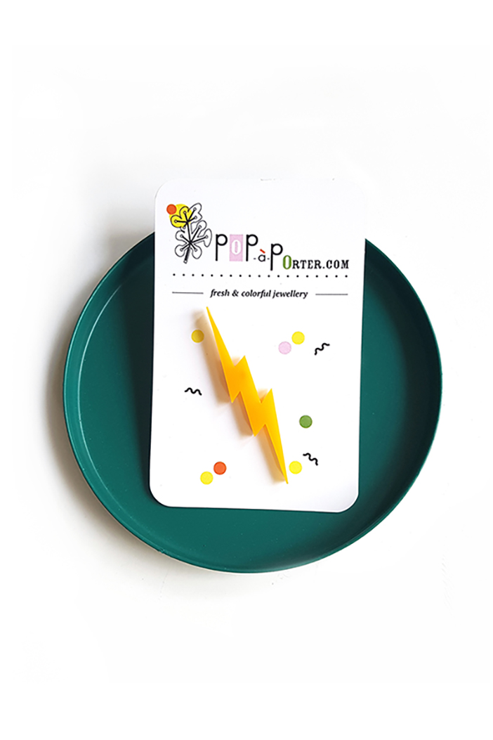 Plexiglas thunder brooch by pop-a-porter