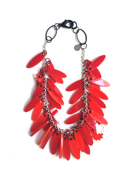 monochrome red plexiglas necklace