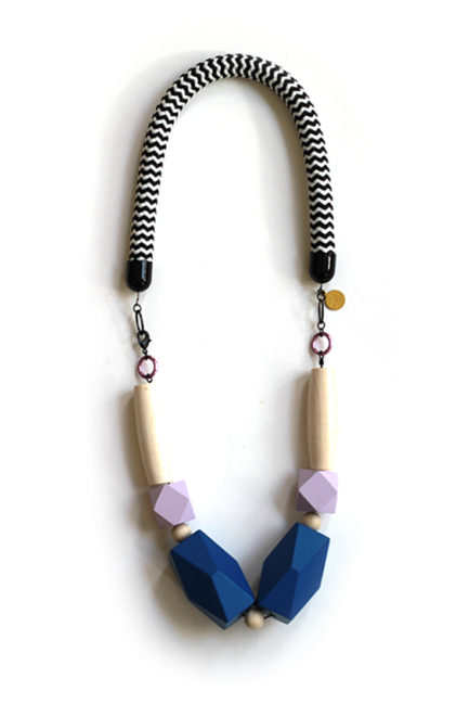 bold statement lavender and blue rope necklace by pop-a-porter