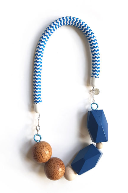timeless statement blue rope necklace by Pop-a-porter