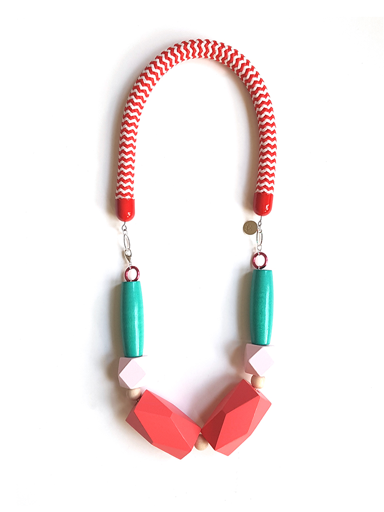 bold statement red rope necklace