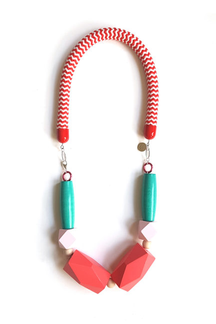 bold statement red rope necklace by Pop-a-porter