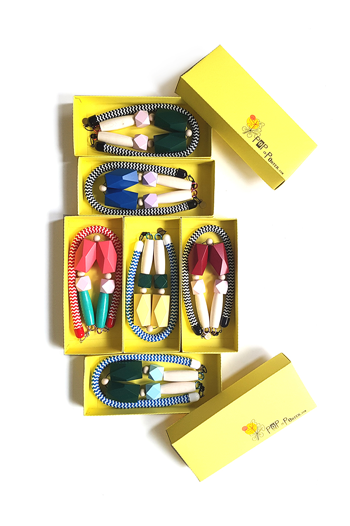colorful rope necklaces by Pop-a-porter in custom yellow boxes
