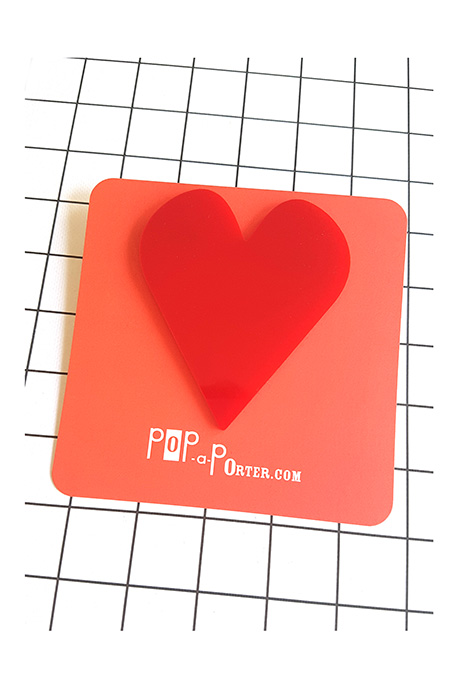 red oversized heart brooch by Pop-a-porter