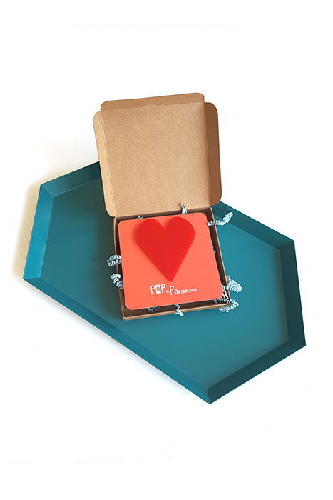 red oversized heart brooch by Pop-a-porter