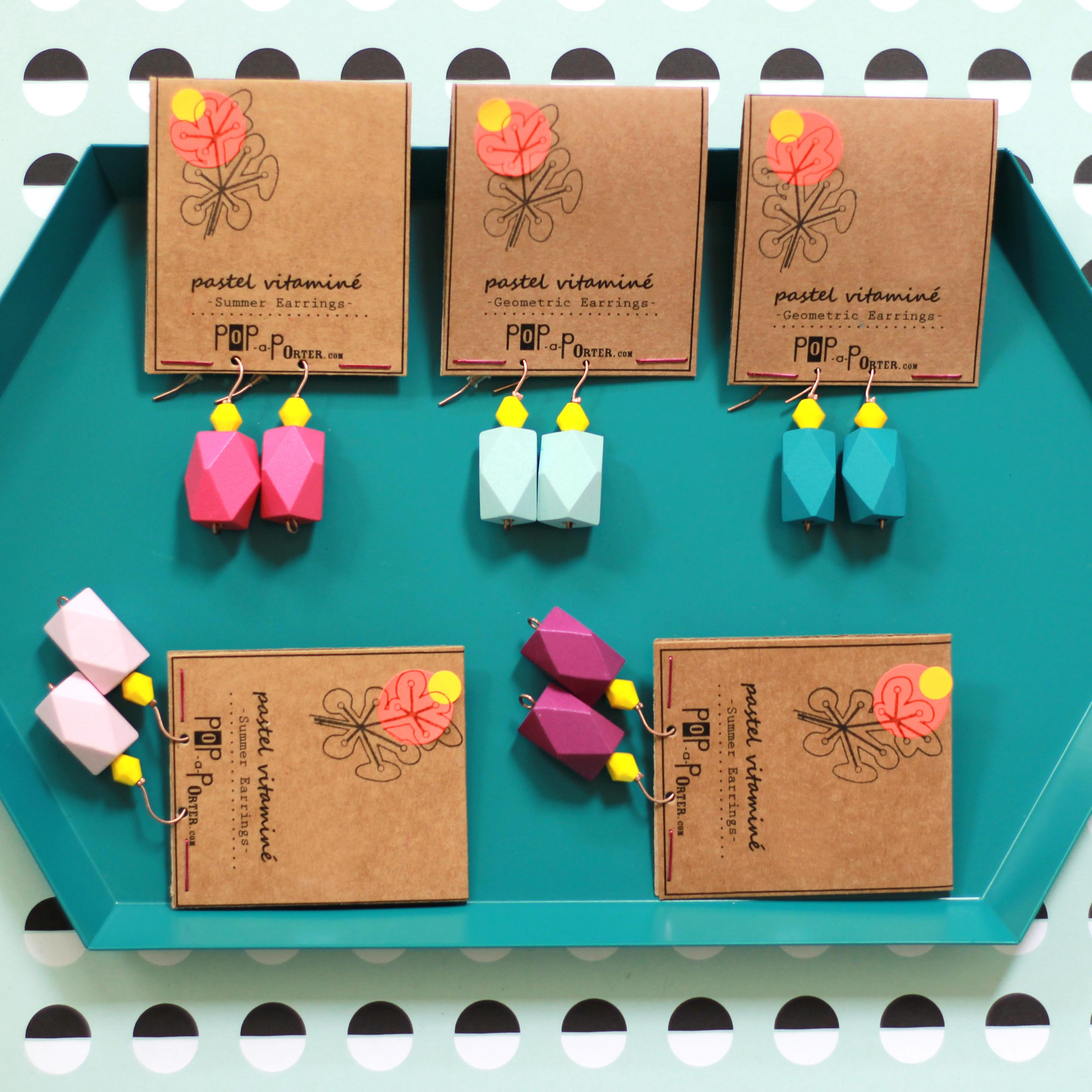 color block earrings by pop-a-porter