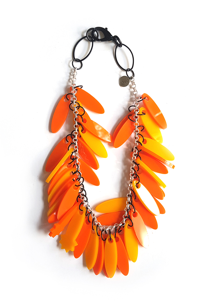 vibrant orange monochrome necklace