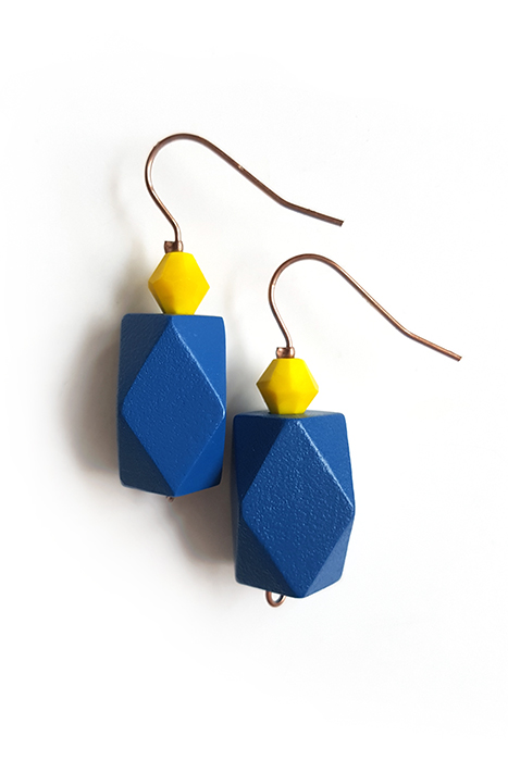 gentian blue color block earrings