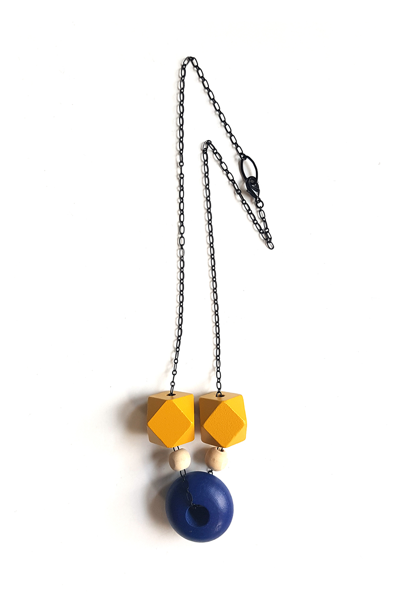 mustard and blue color block necklace