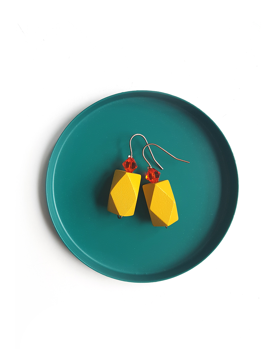 mustard & tangerine color block earrings
