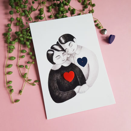 The lovers, an illustrated card with a jewel