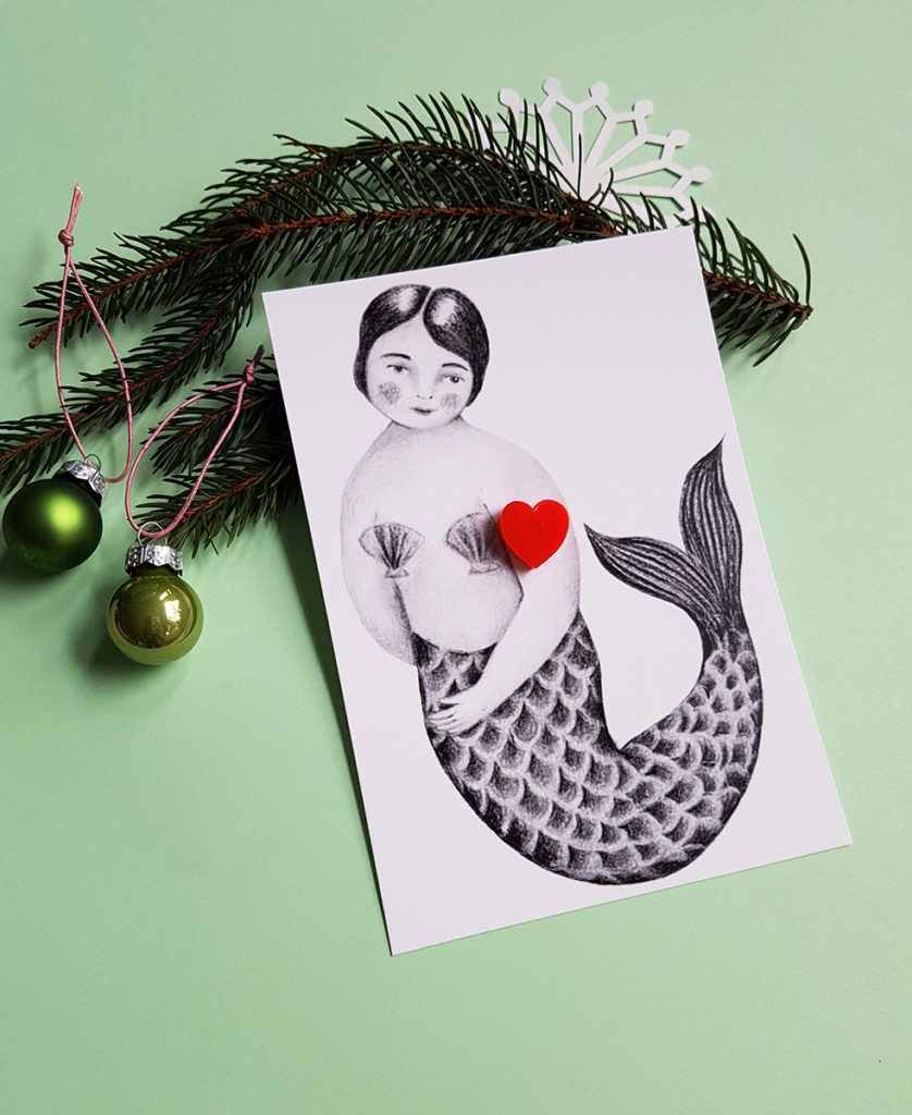 Pop-a-porter x Odette barberouse, an illustrated postcard with a jewel