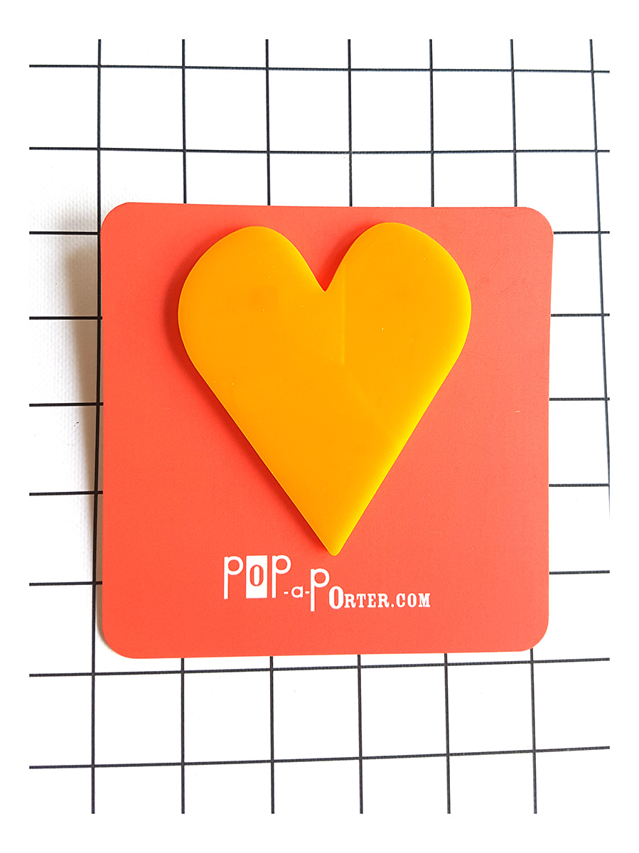 yellow oversized heart brooch by Pop-a-porter
