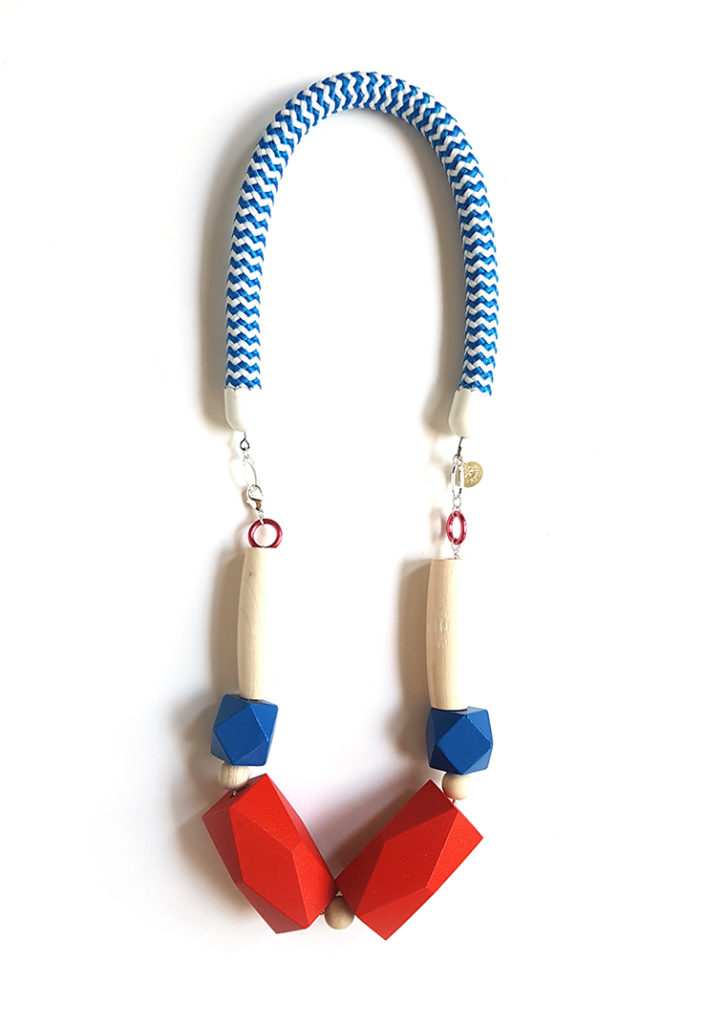 Pop-a-porter red and blue rope necklace from the exclusive collection for Unlimited shop Uk