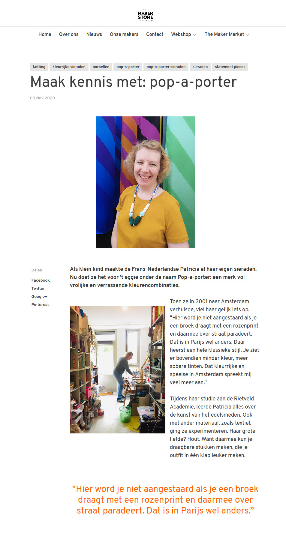 interview the maker store of pop-a-porter